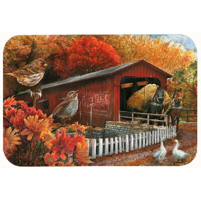 Fall Covered Bridge Kitchen/Bath Mat Size: 20 W x 30 L