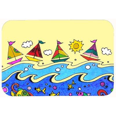 Sail Away Sailboats Kitchen/Bath Mat Size: 24 W x 36 L