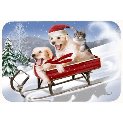 Dogs and Kitten in Sled Need for Speed Kitchen/Bath Mat Size: 20 W x 30 L