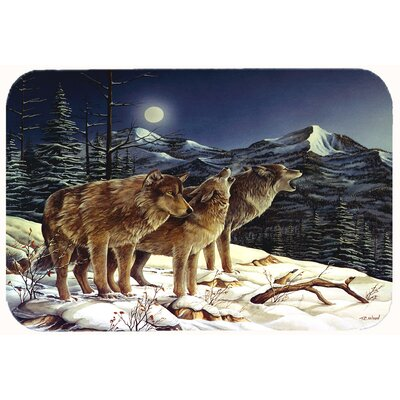 Wolf Wolves Crying at The Moon Kitchen/Bath Mat Size: 24 W x 36 L