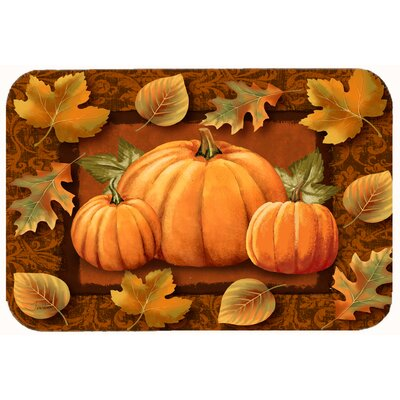 Pumpkins and Fall Leaves Kitchen/Bath Mat Size: 24 W x 36 L