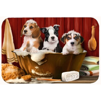 Beagle, Boston Terrier, and Jack Russell in the Tub Kitchen/Bath Mat Size: 20 W x 30 L