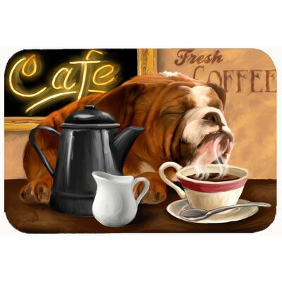 English Bulldog Morning Coffee Kitchen/Bath Mat Size: 24 W x 36 L
