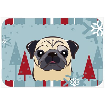 Pug Kitchen/Bath Mat Size: 24 W x 36 L, Color: Fawn