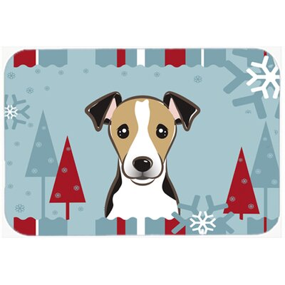 Winter Holiday Jack Russell Terrier Kitchen/Bath Mat Size: 24 W x 36 L, Color: Gray/Beige