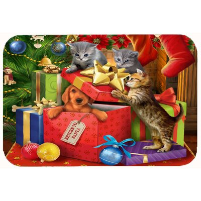 Kittens Return Puppy to Santa Claus Kitchen/Bath Mat Size: 24 W x 36 L