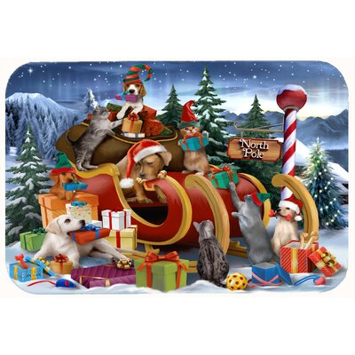 Animals Opening Christmas Presents Kitchen/Bath Mat Size: 24 W x 36 L