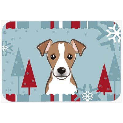 Winter Holiday Jack Russell Terrier Kitchen/Bath Mat Size: 20 W x 30 L, Color: Brown