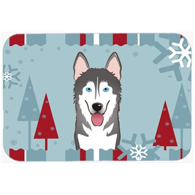 Winter Holiday Alaskan Malamute Kitchen/Bath Mat Size: 24 W x 36 L