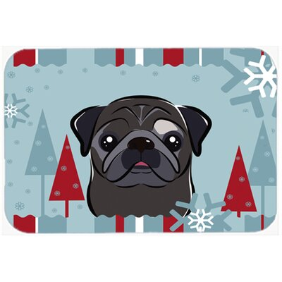 Pug Kitchen/Bath Mat Size: 20 W x 30 L, Color: Black