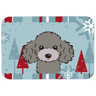 Poodle Kitchen/Bath Mat Size: 24 W x 36 L, Color: Silver/Gray