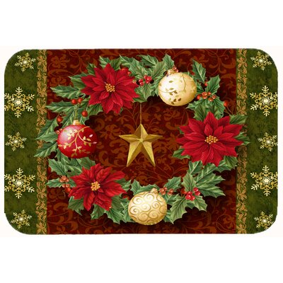 Holly Wreath with Christmas Ornaments Kitchen/Bath Mat Size: 24 W x 36 L