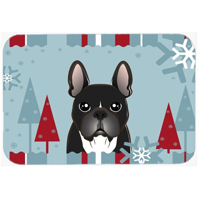 Blue/Black French Bulldog Kitchen/Bath Mat Size: 24 W x 36 L