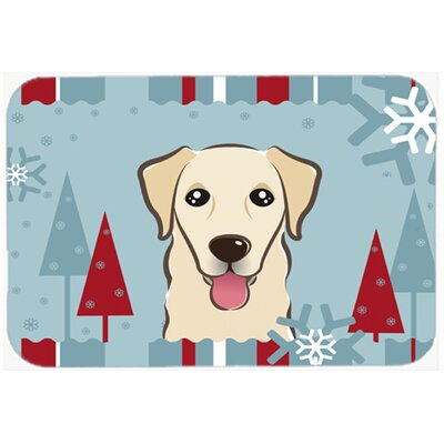 Blue/Beige Retriever Kitchen/Bath Mat Size: 20 W x 30 L