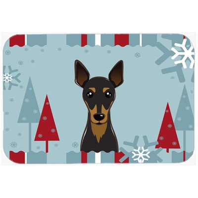Winter Holiday Min Pin Kitchen/Bath Mat Size: 20 W x 30 L