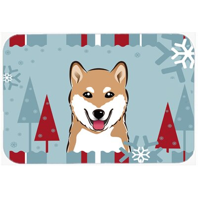 Winter Holiday Shiba Inu Kitchen/Bath Mat Size: 20 W x 30 L