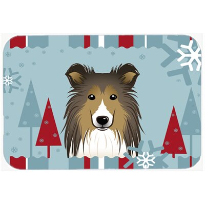 Winter Holiday Sheltie Kitchen/Bath Mat Size: 24 W x 36 L