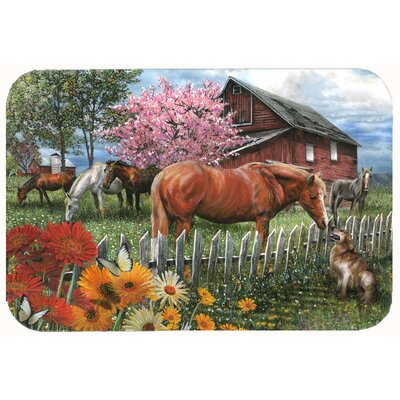 Horses Chatting with The Neighbors Kitchen/Bath Mat Size: 24 W x 36 L