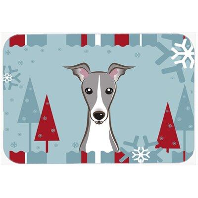 Winter Holiday Italian Greyhound Kitchen/Bath Mat Size: 24 W x 36 L