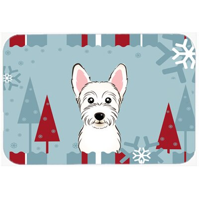 Winter Holiday Westie Kitchen/Bath Mat Size: 24 W x 36 L
