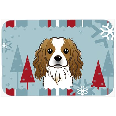 Winter Holiday Cavalier Spaniel Kitchen/Bath Mat Size: 24 W x 36 L