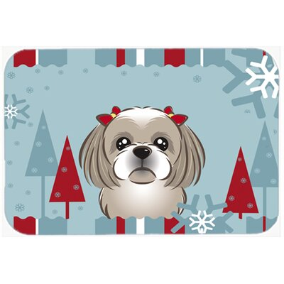 Winter Holiday Shih Tzu Kitchen/Bath Mat Size: 24 W x 36 L, Color: Gray/Silver