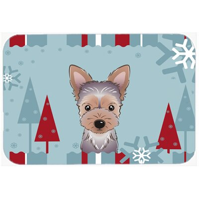 Winter Holiday Yorkie Puppy Kitchen/Bath Mat Size: 24 W x 36 L