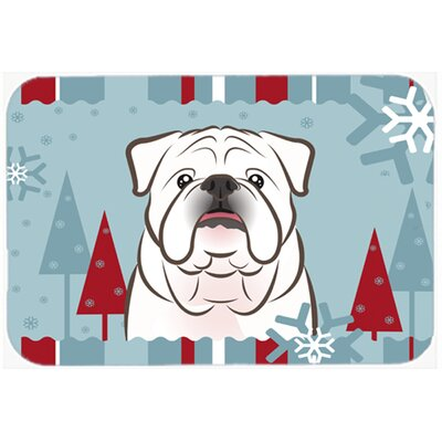 Winter Holiday English Bulldog Kitchen/Bath Mat Color: White, Size: 20 W x 30 L