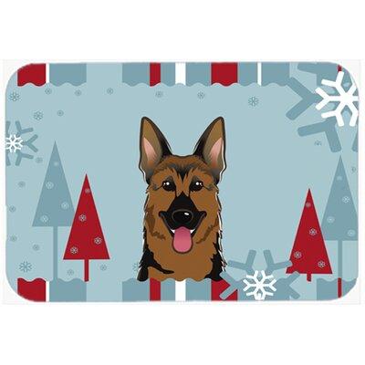 Winter Holiday German Shepherd Kitchen/Bath Mat Size: 24 W x 36 L