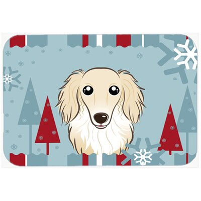 Longhair Dachshund Kitchen/Bath Mat Size: 24 W x 36 L, Color: Cream