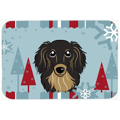 Longhair Dachshund Kitchen/Bath Mat Size: 24 W x 36 L, Color: Black