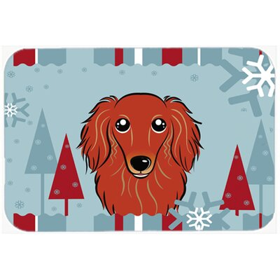 Longhair Dachshund Kitchen/Bath Mat Size: 20 W x 30 L, Color: Red