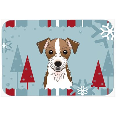 Red/Blue Jack Russell Terrier Kitchen/Bath Mat Size: 24 W x 36 L