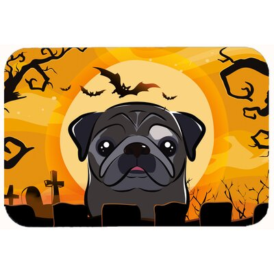 Halloween Pug Kitchen/Bath Mat Size: 24 W x 36 L, Color: Fawn