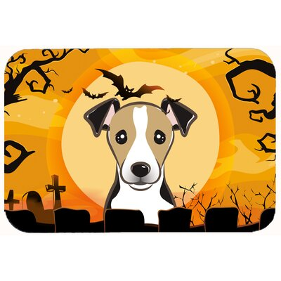Halloween Jack Russell Terrier Kitchen/Bath Mat Size: 20 W x 30 L, Color: Gray/Beige