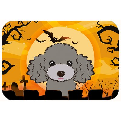 Halloween Poodle Kitchen/Bath Mat Size: 24 W x 36 L, Color: Silver/Gray