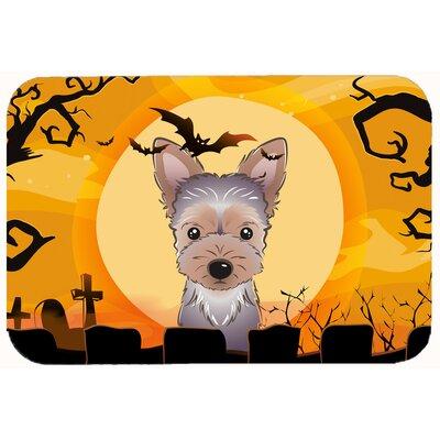 Halloween Yorkie Puppy Kitchen/Bath Mat Size: 24 W x 36 L