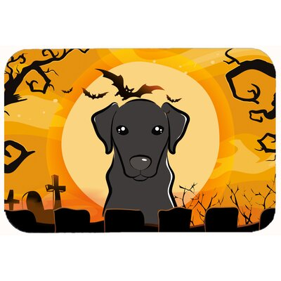 Halloween Labrador Kitchen or Bath Mat Size: 24 W x 36 L, Color: Black