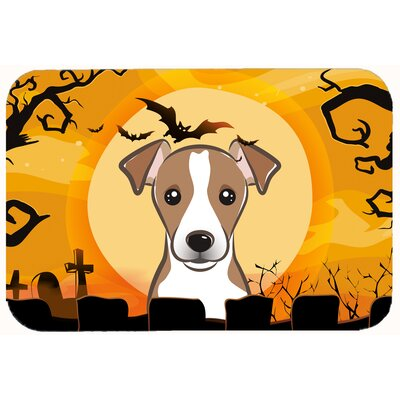 Halloween Jack Russell Terrier Kitchen/Bath Mat Size: 24 W x 36 L, Color: Brown