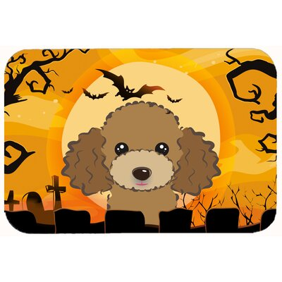 Halloween Poodle Kitchen/Bath Mat Size: 24 W x 36 L, Color: Chocolate/Brown