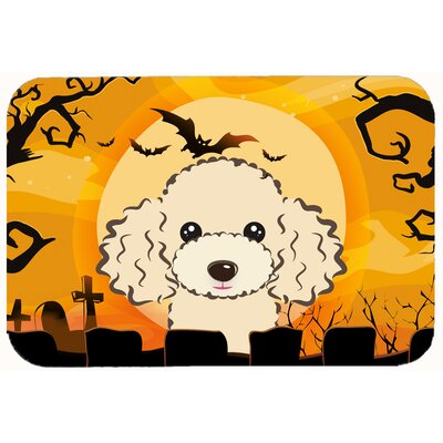 Halloween Poodle Kitchen/Bath Mat Size: 24 W x 36 L, Color: Buff
