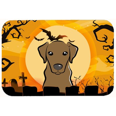 Halloween Labrador Kitchen or Bath Mat Size: 24 W x 36 L, Color: Chocolate