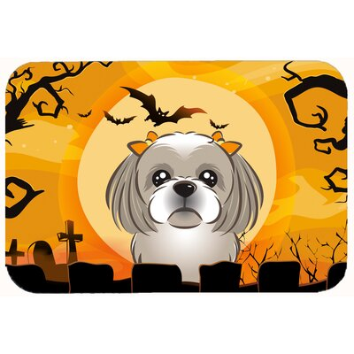 Halloween Shih Tzu Kitchen/Bath Mat Size: 24 W x 36 L, Color: Gray/Silver