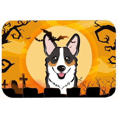 Halloween Corgi Kitchen/Bath Mat Size: 20 W x 30 L, Color: Black/Gray/Tan