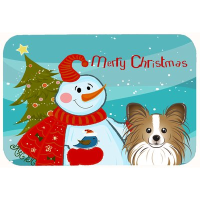 Snowman with Papillon Kitchen/Bath Mat Size: 20 W x 30 L