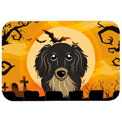 Halloween Longhair Dachshund Kitchen/Bath Mat Size: 24 W x 36 L, Color: Black