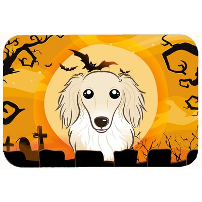 Halloween Longhair Dachshund Kitchen/Bath Mat Size: 24 W x 36 L, Color: Cream