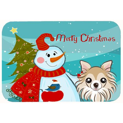Snowman with Chihuahua Kitchen/Bath Mat Size: 24 W x 36 L