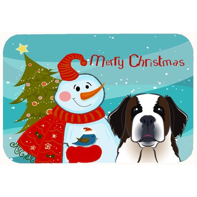 Snowman with Saint Bernard Kitchen/Bath Mat Size: 24 W x 36 L