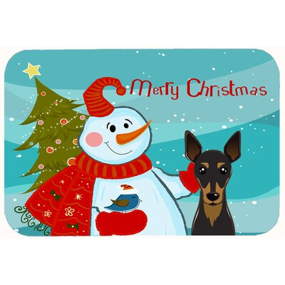 Snowman with Min Pin Kitchen/Bath Mat Size: 24 W x 36 L